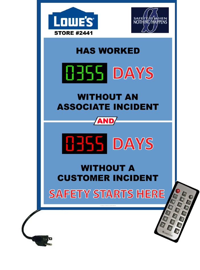 LED Days without an accident Safety Scoreboards